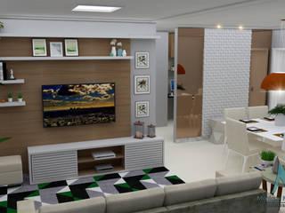 Projeto interiores - sala: Salas de estar  por MN Arquitetura e Urbanismo