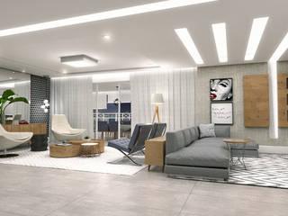 Conceito22 Arquitetura Inteligente Living room Wood Grey