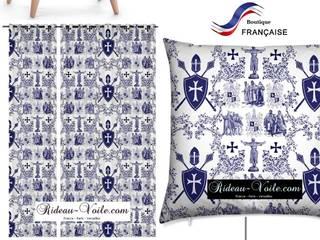 Décoration tapisserie tissu ameublement imprimé motif Toile de Jouy style Médiéval:  de style  par Rideau-voile, Classique