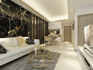 One Homantin :  Living room by Art Deco Design Ltd.
