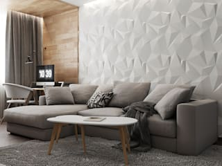 ДизайнМастер 现代客厅設計點子、靈感 & 圖片 White