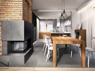 Projekt wnętrza domu jednorodzinnego, Częstochowa Industrialna jadalnia od IN studio projektowania wnętrz Industrialny