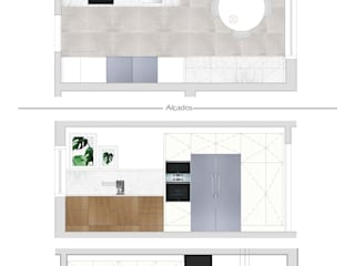 Proposta - Cozinha - Planta e Alçados: Cozinhas modernas por Dar Azos - Oficina de Design