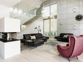 projekt wnętrz domu jednorodzinnego pod Gdańskiem Nowoczesny salon od Ajot pracownia projektowa Nowoczesny
