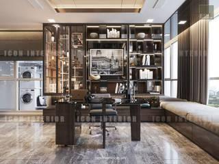 Phong cách hiện đại trong thiết kế nội thất căn hộ Vinhomes Central Park Phòng học/văn phòng phong cách hiện đại bởi ICON INTERIOR Hiện đại