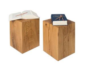 Holzblock Hocker 30x30x45 cm Eiche Massiv:   von Möbelmanufaktur GreenHaus