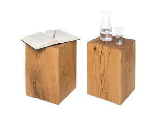 Holzklotz Beistelltisch 30x30x50 cm Eiche Massivholz:   von Möbelmanufaktur GreenHaus