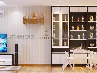 Bàn ăn thông minh kết hợp tủ trang trí:  Phòng ăn by Công Ty TNHH Xây Dựng & Nội Thất ECO Việt Nam