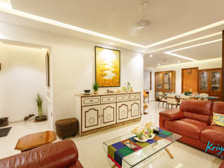 3 BHK Apartment - Fairmont Towers, Bengaluru:  Living room by KRIYA LIVING