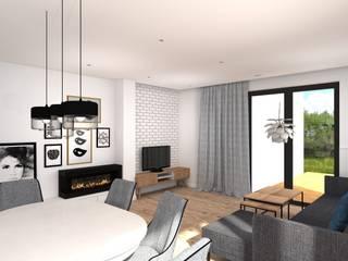 Projekt koncepcyjny wnętrz_dom IN02: styl , w kategorii  zaprojektowany przez BOOM studio