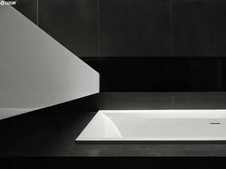 Wyjątkowa łazienka z umywalką na wymiar Nowoczesna łazienka od Luxum Nowoczesny