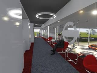Oficinas Nissan Country: Estudios y oficinas de estilo moderno por Sánchez Ontiveros Arquitectos