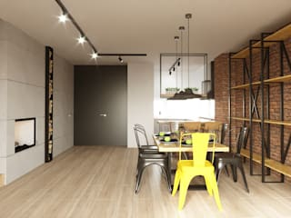 Dining & living area: industrial Living room by Fibi Interiors