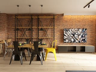 Dining & living area:  Living room by Fibi Interiors