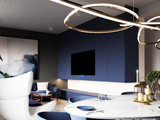 A Navy Situation:  Living room by Fibi Interiors