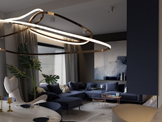 A Navy Situation: modern Living room by Fibi Interiors