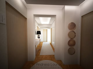 Andreia Louraço - Designer de Interiores (Email: andreialouraco@gmail.com) Modern corridor, hallway & stairs Beige