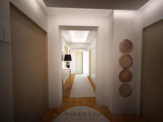 Andreia Louraço - Designer de Interiores (Email: andreialouraco@gmail.com) Pasillos, vestíbulos y escaleras de estilo moderno Beige
