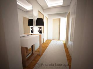 Andreia Louraço - Designer de Interiores (Email: andreialouraco@gmail.com) Modern corridor, hallway & stairs White