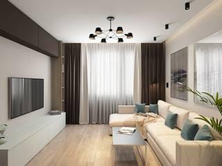 1 к.кв. в ЖК Волга Скай (64 кв.м): Гостиная в . Автор – ДизайнМастер