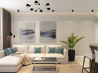ДизайнМастер Salas de estilo moderno Beige