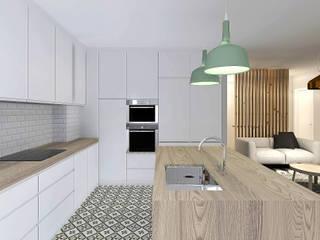 A Casa da Catarina e do Miguel: Cozinhas  por Homestories,Escandinavo