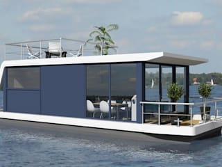 Nautic Living Ruang Komersial Modern Kaca Blue