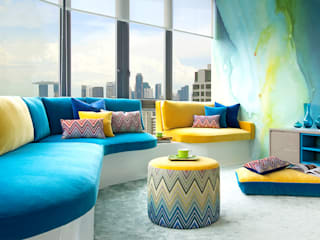 Singapore Penthouse Salas multimedia de estilo moderno de Design Intervention Moderno