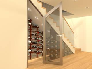Garrafeira personalizada em vão de escadas: Adegas minimalistas por Volo Vinis