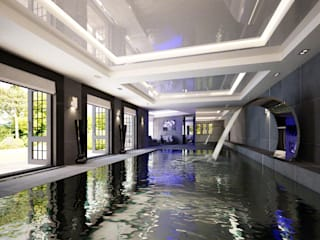 indoor dark pool: modern Pool by Design by UBER