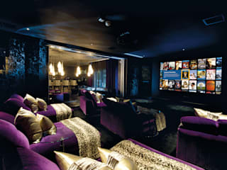 Club-themed residential cinema room to bar: modern Media room by Design by UBER