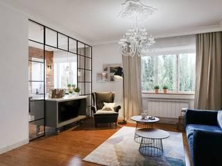 Mieszkanie w bloku z cegły: styl , w kategorii Salon zaprojektowany przez DCODE Emilia Krysińska,