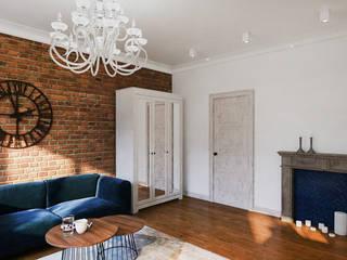 DCODE Emilia Krysińska Projektowanie Wnętrz i Architektura Eclectic style living room Bricks