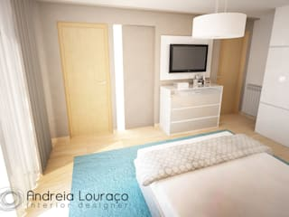 """PROJECTO """"LEOPARD"""": Quartos  por Andreia Louraço - Designer de Interiores (Contacto: atelier.andreialouraco@gmail.com)"""