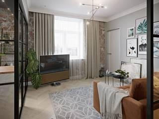 Квартира-студия для молодой семьи. Москва: Гостиная в . Автор – V.O.concept studio