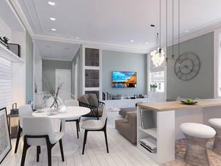 Уютная трехкомнатная квартира в духе французского кантри Гостиная в стиле кантри от design4y Кантри