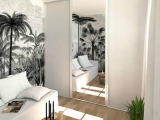 MJ Intérieurs Tropical style bedroom Grey