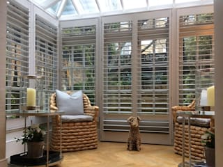 Shutters For A Stunning Conservatory And Just In Time For The Spring Sunshine Too Plantation Shutters Ltd Konservatori Modern Kayu Grey