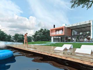 Prismas Volados. Vivienda RF. Country Cinco Lomas.: Casas unifamiliares de estilo  por síncresis arquitectos