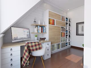Scandinavian Home Office and Bedroom:   by SARAÈ Interior Design