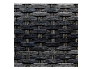 Pouf Rattan Negro Mixto de Afuera Diseño Minimalista
