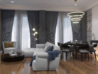 Дизайн-проект роскошной квартиры с элементами неоклассики Гостиная в классическом стиле от design4y Классический