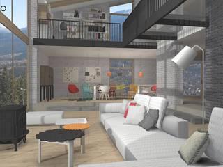 غرفة المعيشة تنفيذ MODULO Pracownia architektury wnętrz, إسكندينافي
