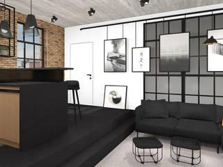 غرفة المعيشة تنفيذ MODULO Pracownia architektury wnętrz, صناعي