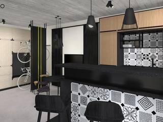 インダストリアルデザインの キッチン の MODULO Pracownia architektury wnętrz インダストリアル
