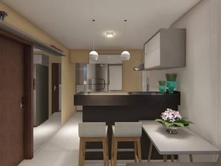 Projeto F&M: Cozinhas embutidas  por Raquel Abdala - Arquitetura e Interiores