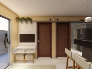Projeto F&M: Salas de estar  por Raquel Abdala - Arquitetura e Interiores