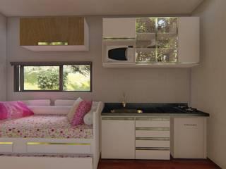 Casa Container de 40 PÉS Locares Casa Container e Projetos Customizados Cozinhas embutidas Madeira Branco