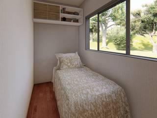 Casa Container de 40 PÉS Locares Casa Container e Projetos Customizados Quartos modernos Madeira Branco