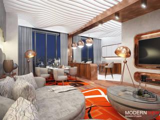 Пресненская набережная Гостиная в стиле модерн от Дизайн - студия MODERN VIEW Модерн